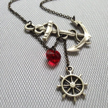 Lost Heart at Sea Necklace by SBC Silver Plated Anchor, Red Swarovski Heart, Ship Wheel, Anchor Heart Necklace, Sideways Anchor, Nautical