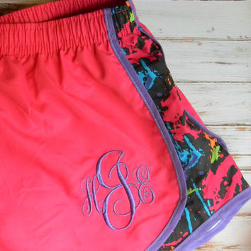 Monogrammed Running Shorts Monogram Shorts Girls Women MORTS Bridesmaid gift Birthday Cheerleader Shorts