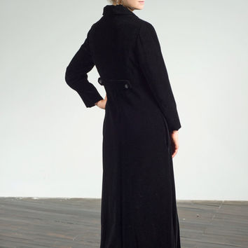VINTAGE 'Kay Walsh' floor length velvet opera coat with satin lining and jeweled buttons