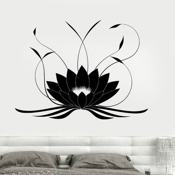 Plus size Lotus Flower Buddha Yoga Studio Meditate Decor Wall Sticker Vinyl Decal Vinyl Waterproof Bedroom Home Decor Mural D284