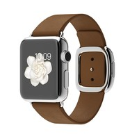 Apple Watch 38mm Stainless Steel Case with Brown Modern Buckle - Small