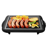 Excelvan Indoor Electric Classic Plate Barbecue Grill, 1120W, Black, 20*10*4 inch