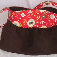 Brown Corduroy and Red/Moda Tote/Maddie Bag by GoGreenWithRed