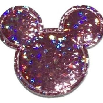 Light pink holographic Minnie Mouse 30x25mm padded appliqué