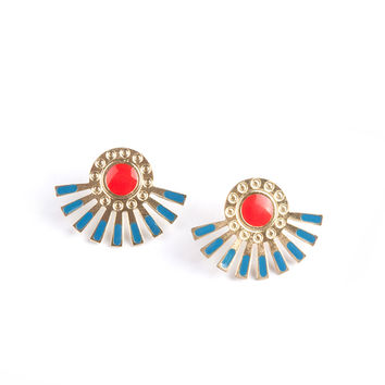Helios Stud Earrings - Gold