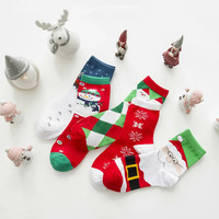 Women Christmas 5-pack Cotton Wool Warm Winter Fall Crew Socks Gift-54
