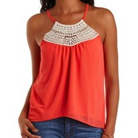 Coral Strappy Crochet Yoke Tank Top by Charlotte Russe