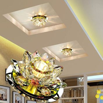 Crystal Modern LED Ceiling Lighting Pumpkin Lotus Lights