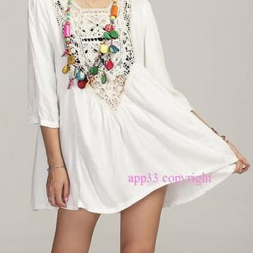 2014 Summer Dress Vtg 70s  Cut Out Crochet MEXICAN  Dresses women Clothing White vestidos