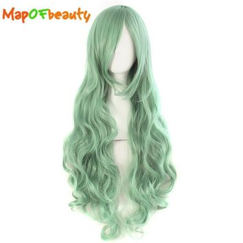 MapofBeauty long wavy 32 Inches 80cm Celadon Green Cosplay Wigs Hairstyles for black women Heat Resistant Female Synthetic hair