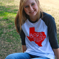 Texas Born & Raised MEDIUM Red Tshirt TX Tech Raiders Home Proud Native Texan State Baseball Womens T Shirt tee shirt for Women