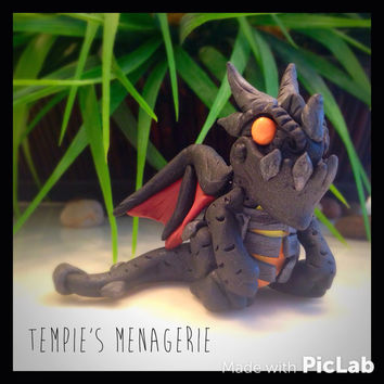 Lil' Deathwing World of Warcraft WoW Dragon Figurine Fan art miniature terrarium / decor / accent polymer clay