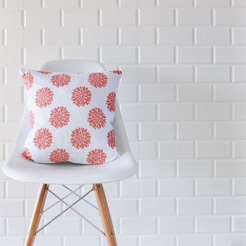 "Coral Peony, Decorative Pillow, Throw Pillow, French Pillow Cover, Cushion Cover, Scandinavian Print 16"" x 16"""