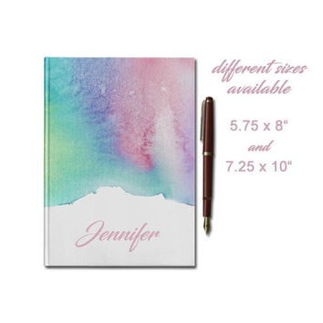 Custom Hardcover Journal, Personalized Journal, Lined Paper Journal, Cute Watercolor Rainbow with name, 5.75 x 8 inches, 7.25 x 10 inches
