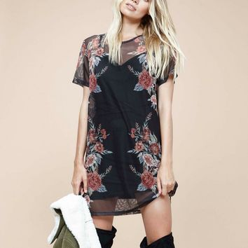 minkpink - wallflower mesh layered mini dress