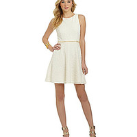 Vince Camuto Boucle Fit-and-Flare Dress - Cream