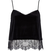River Island Womens Black velvet lace cami top
