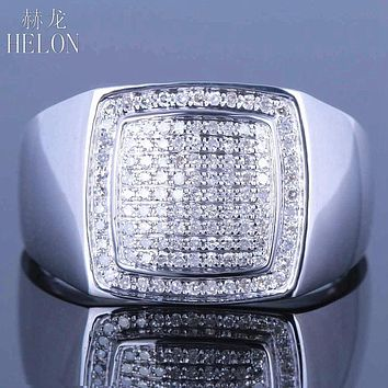 HELON sterling silver 925 Mens Round Cut Diamond Engagemen Ring generous estate 0.4ct natural diamonds band Ring Pinky Ring