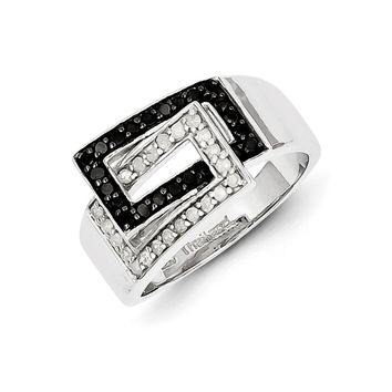 Black & White Diamond Rectangle Crossover Ring in Sterling Silver