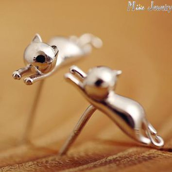 1 pc .925 Sterling Silver Cat Earrings or Ring or Pendant Necklace