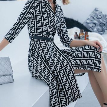 FENDI Autumn Winter Newest Fashion Women FF Letter Print Long Sleeve Lapel Cardigan Jacket Coat