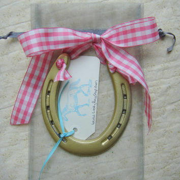 lucky gold horseshoe, pink & white gingham bow, custom gift tag, good luck horse shoe gift, newborn girl nursery gift, housewarming gift