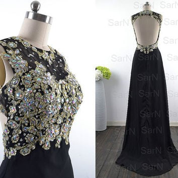 Black Prom Dresses, Custom Long Black Lace and Chiffon Prom Gown, Long Formal Dresses, Black Lace Long Formal Gown