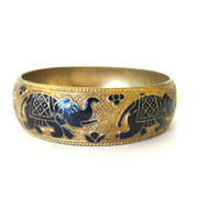 20% OFF SALE Vintage gold elephant bangle bracelet