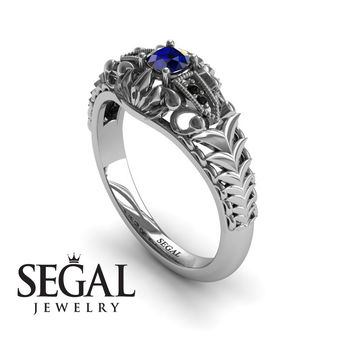 Unique Engagement Ring 14K White Gold Vintage Victorian Ring Edwardian Ring Filigree Ring Sapphire With Black Diamond - Cadence