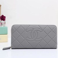 Chanel Women Leather Zipper Shopping Wallet Purse