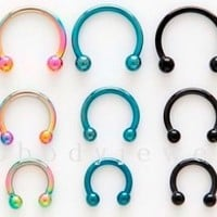 "2pcs.16g~1/4"", 5/16"", 3/8"" Anodized Steel Circular Earrings, Lip, Septum, Tragus"