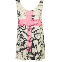 Boyfriend Tank with Cross Print