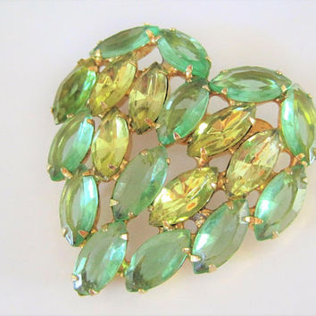 Green Heart Brooch, Open Back Navettes, Citrine Rhinestone Center, Heart Shaped, Wedding Valentine's Pin