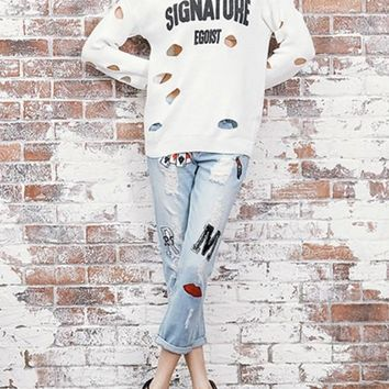 White Monogram Print Cut Out Ripped Round Neck Long Sleeve Cute Pullover Sweater