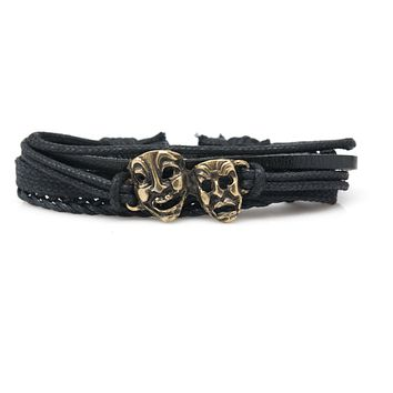 Comedy Tragedy Masks Rope and Leather Adjustable Unisex Charm Bracelet