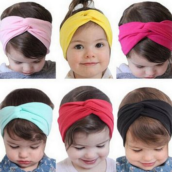 1PCS Headwear Stretch Twist Flower Headband Turban Head Wrap Bandana Kids Hair Bands Kids Hair Accessories KT05