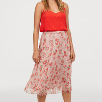 Pleated skirt - Old rose/Floral - Ladies | H&M GB