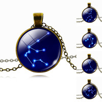 Zodiac Pendant Antique Fashion Chain Necklace