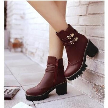 2017 short boots women thick heel autumn shoes platform chunky boots female platform punk martin boots womens motorcycle boots