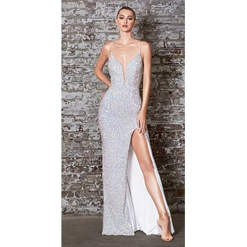 Long Fitted Iridescent Sequin Gown Opal Lace Up Back Deep V-Neckline