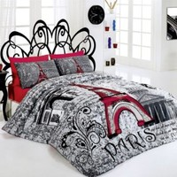 New Cotton 4pcs Paris Red Double Size Duvet Cover Set Eiffel Theme Bedding Linens