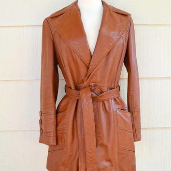 Vintage Leather Coat, The Tannery, Montgomery Ward, Size 7/8, Ladies Cognac Brown Leather Jacket, 1970s