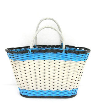 Large beach basket for shopping vintage soviet light blue boho nautical carry bag