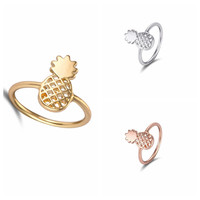 2016 New Fashion Cute Pineapple Rings Simple Funny Outline Fruit Rings Lovely Ananas Rings for Women Party Gift R142