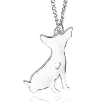 WLP 1pc Chihuahua Necklace Custom Dog pendant Necklace Pet Jewelry Personalized Pet Dog Memorial Gift Toy Christmas for lovers