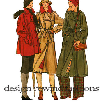70s Double Breasted TRENCH COAT PATTERN Winter Swing Coat Detachable Lining Vogue 9613 Bust 36 Size 14 UnCUT Women's Vintage Sewing Patterns