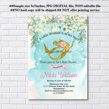 Baby Shower, retro Invitation, baby girl Mermaid baby shower sea Little mermaid invitation  baby girl Shower Design- 1096