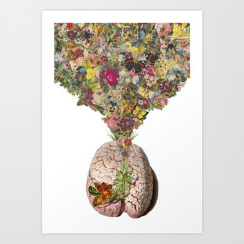 """beauty in the brains"" anatomical brain collage art by bedelgeuse Art Print by Bedelgeuse"