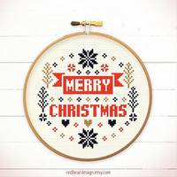 Christmas cross stitch pattern - Merry Merry Christmas