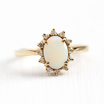 Opal & Diamond Ring - Vintage 10k Yellow Gold Gemstone Halo - Size 6 1970s Estate Retro Cluster Fine Flower Floral Classic Jewelry